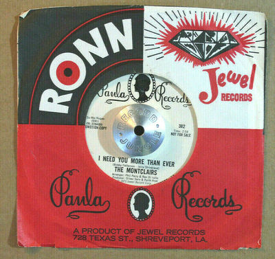 Gripsweat - NORTHERN SOUL 45 - THE MONTCLAIRS - I NEED YOU