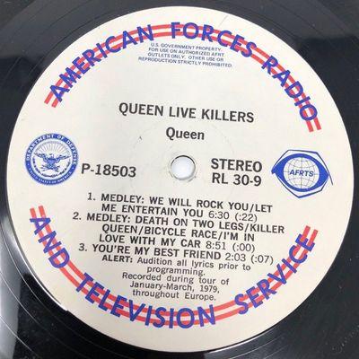 Gripsweat - QUEEN Live Killers VINYL RECORD American Forces Radio